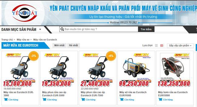 """Máy rửa xe Eurotech """"đắt xắt ra miếng"""""""