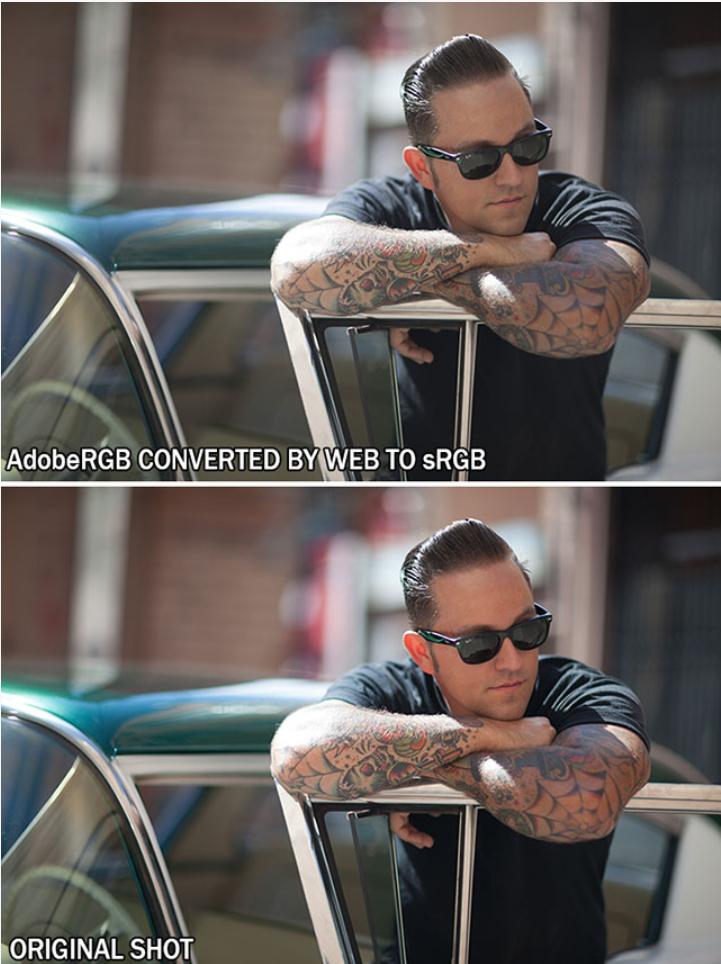 Khác biệt khi web browser convert AdobeRGB sang sRGB