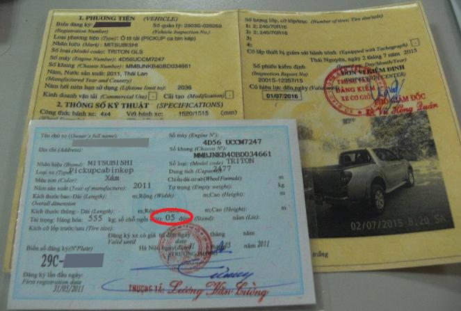 Hình ảnh giấy đăng kiểm xe ô tô