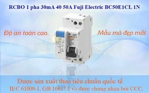 RCBO 1 pha với độ lớn chênh lệch tiêu chuẩn là 30mA
