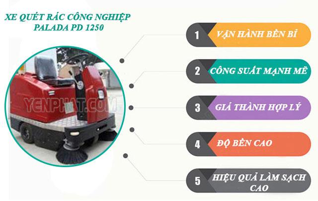 Xe quét rác công nghiệp Palada PD 1250 được nhiều nhà xưởng tin dùng