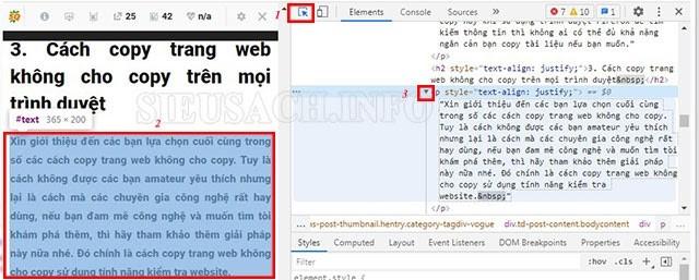 Các bước thực hiện copy văn bản trên web không cho copy