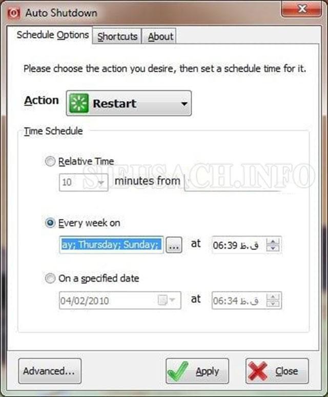 Giao diện phần mềm Auto Shutdown