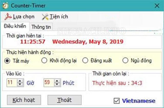 Giao diện phần mềm Counter Timer