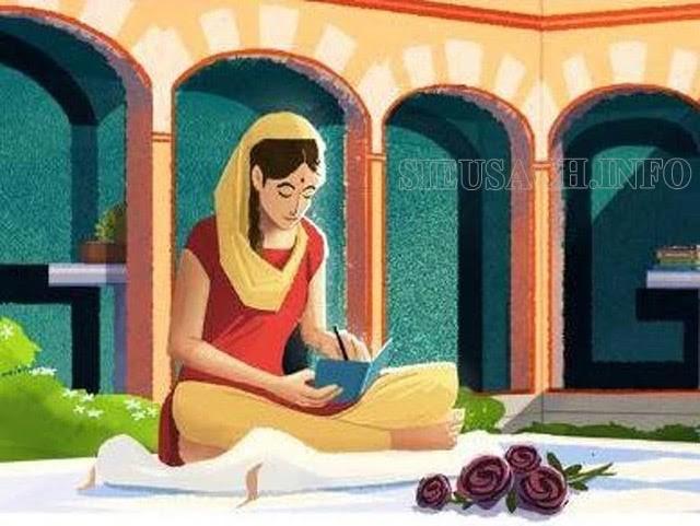 Hình ảnh Amrita Pritam trên Google Doodle nhân kỷ niệm 100 năm ngày sinh của bà