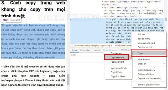 Thực hiện copy văn bản bằng cách chọn Copy => Copy element