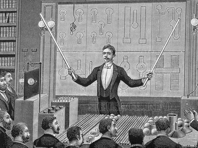 Ảnh vẽ Nikola Tesla đang thuyết giảng