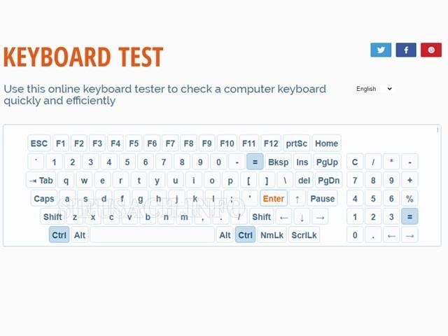 Bàn phím ảo của Online Mic Test nếu phím đó hoạt động bình thường