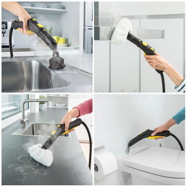 Khả năng làm sạch nhiều bề mặt nhờ hơi nước nóng