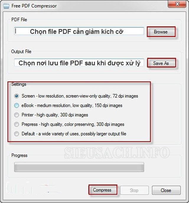 Các bước giảm dung lượng file PDF với Free PDF Compressor