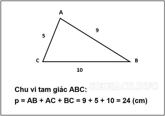 Công thức tính chu vi hình tam giác thường