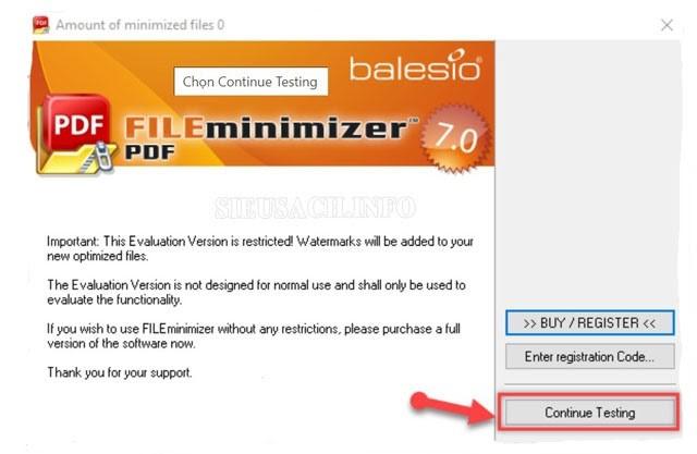 """Chọn """"Continue Testing"""" để dùng thử miễn phí"""