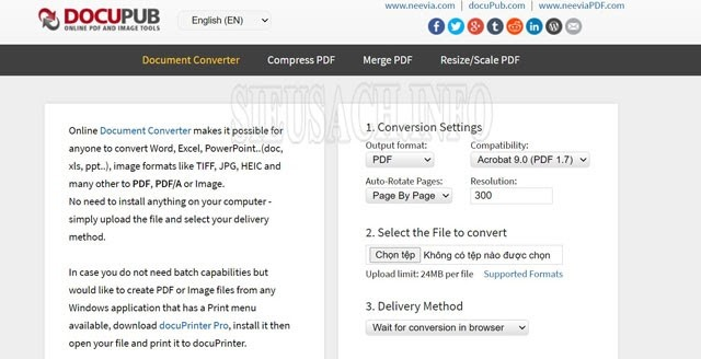 Giao diện của Docupub.com/pdfconvert/