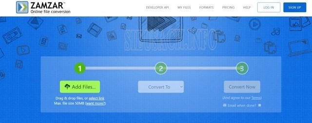 Giao diện của Zamzar.com