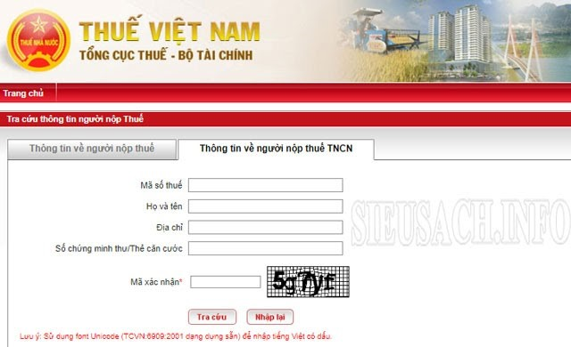 Giao diện web thuế Việt Nam