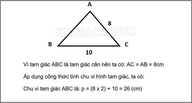 Tính chu vi hình tam giác cân