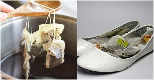 Tận dụng ngay túi trà hoặc bã chè để khử mùi hôi giày