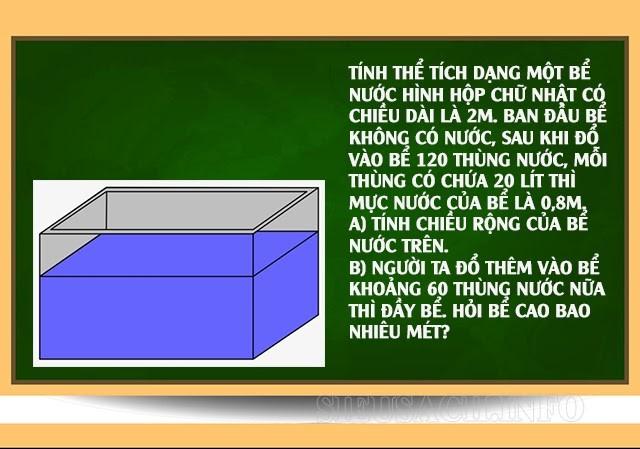 Bài tập về tính thể tích hình hộp chữ nhật