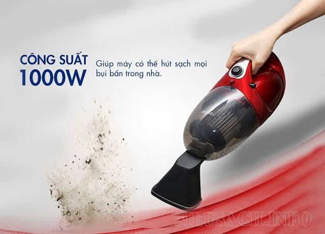 Công suất 1000W dễ dàng hút sạch mọi loại bụi bẩn