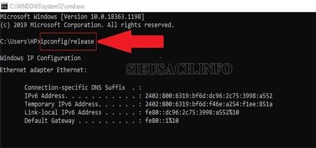 Thực hiện nhập lệnh ipconfig /release
